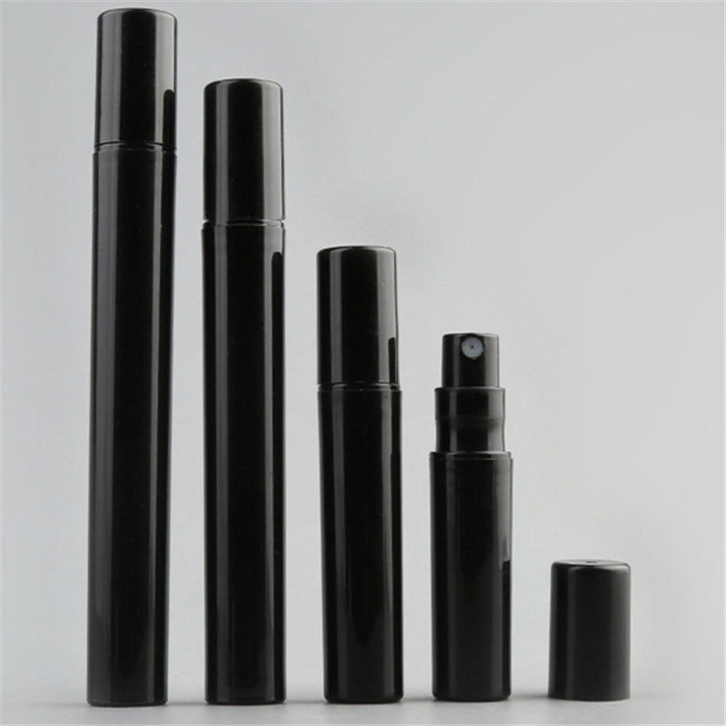 10pcs/lot Empty 2ML 3ML 5ML 10ML Mini Black Plastic Spray Perfume Bottle Small Promotion Sample Perfume Atomizer