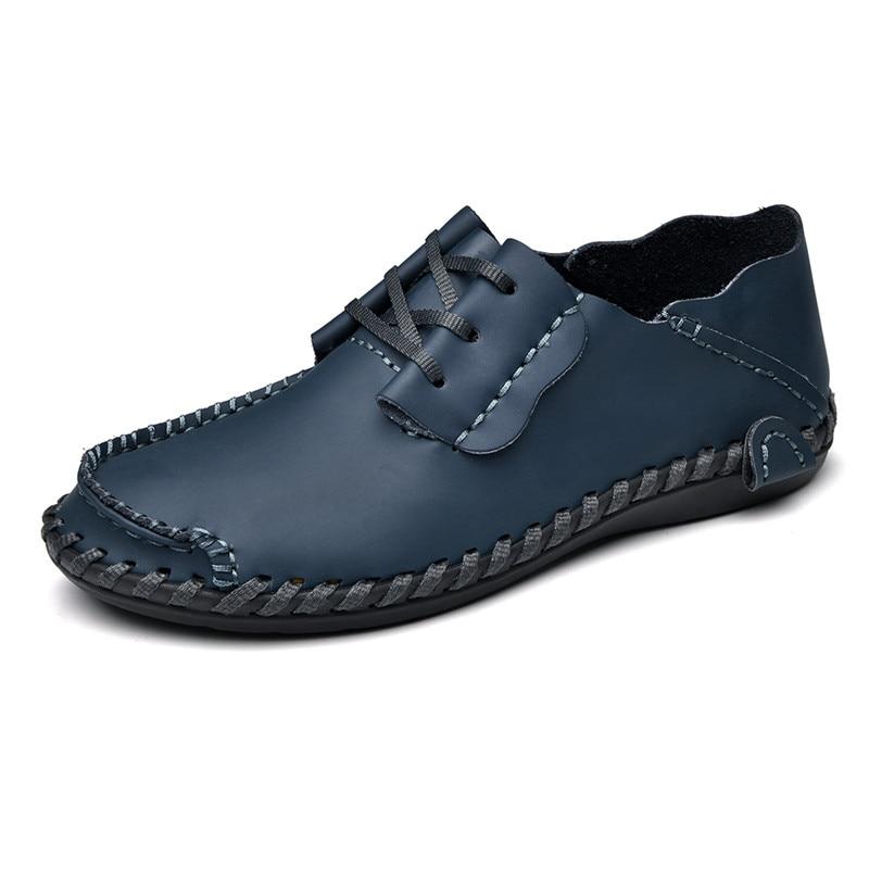 Mocassins 28 En lightbrown Main La Chaussures 66 Confortable Pour redbrown blue Taille Belle Black Cuir Faits Lacets À Nouvelle Creepers brown Hommes Plus Casual qxYwwBXTz