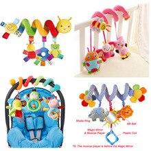 Edukacyjne grzechotki dla dzieci Mobiles Animal Spiral grzechotki zabawki dla wózka dziecięcego dzwonek do łóżka w łóżku wózek dziecięcy wiszące zabawki