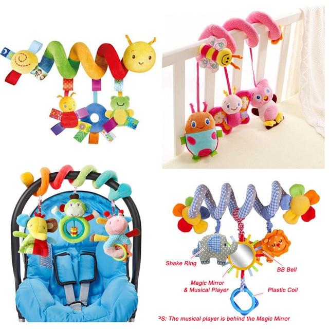 Hochets Mobiles éducatifs pour bébés, jouets éducatifs pour bébés, hochets en spirale, animaux, pour poussette, cloche de lit pour bébé