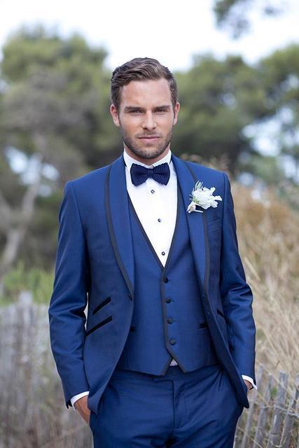 Por Encargo de la Nueva Llegada Smokinges Del Novio del Mantón de la Solapa de Los Hombres Traje Azul Real Del Padrino de boda/Mejores Trajes De Boda Hombre (Jacket + Pants + Vest)