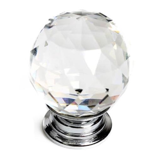 16 X 30mm Diamond Crystal Glass Door Knob Knobs Handle Drawer Kitchen + Screws