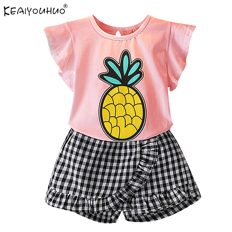 New 2018 Tracksuit For Girls Clothes Sets Summer Outfits Suit Children Clothing 2Pcs Pineapple Kids Clothes Sets 3 4 5 6 7 Years 2018 summer girls clothes set vest long sleeve shirt dress 3pcs outfits kids tracksuit suit for children girls clothing sets