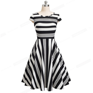 Image 2 - Nice forever Vintage Stripe Print Casual Summer vestidos Business Party A Line Swing Flare Women Dress btyA153