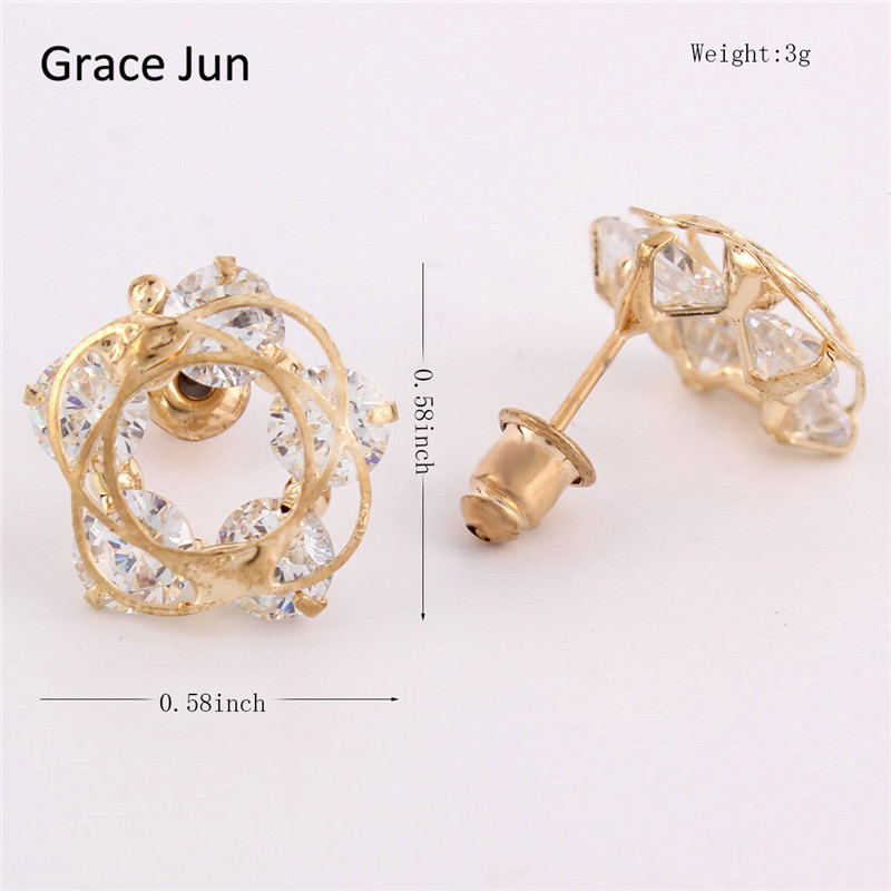 New Arrival Transparent Color Crystal Stud Earrings for Girls Fashion Accessories Good Gifts Free Shipping