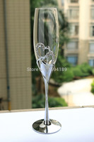 2015 New Design Hot Sale Clear Crystal 180ml Drinking Glasses Set With Double Heart