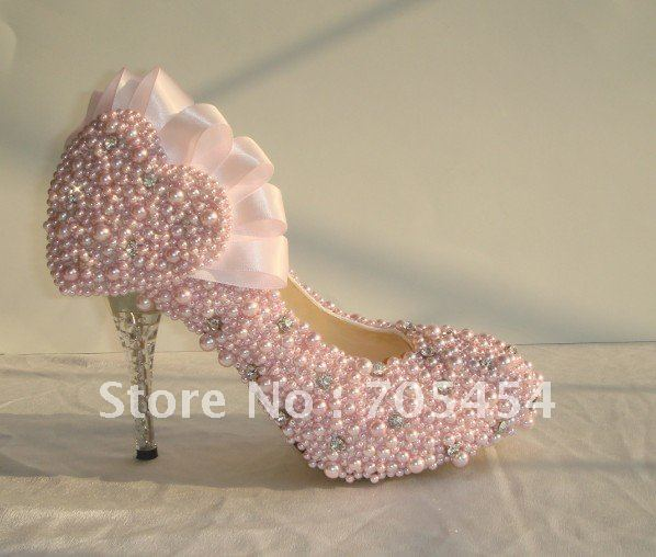 BS172 Free Shipping Light Pink High Heel Full Pearls