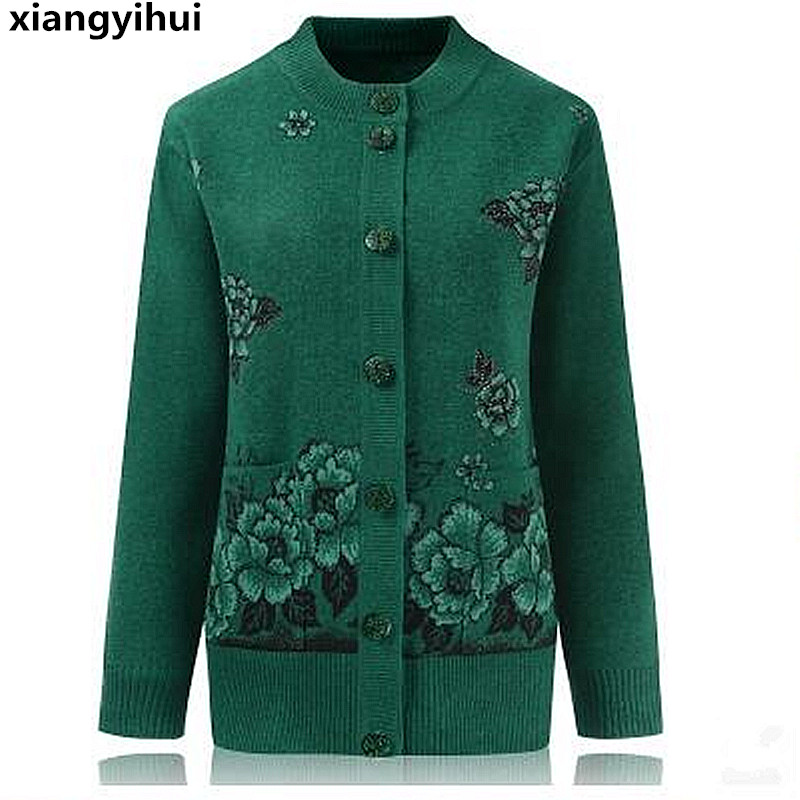 The high quality mother sweater fashion hot diamonds woolen cashmere in elderly women cardigan big