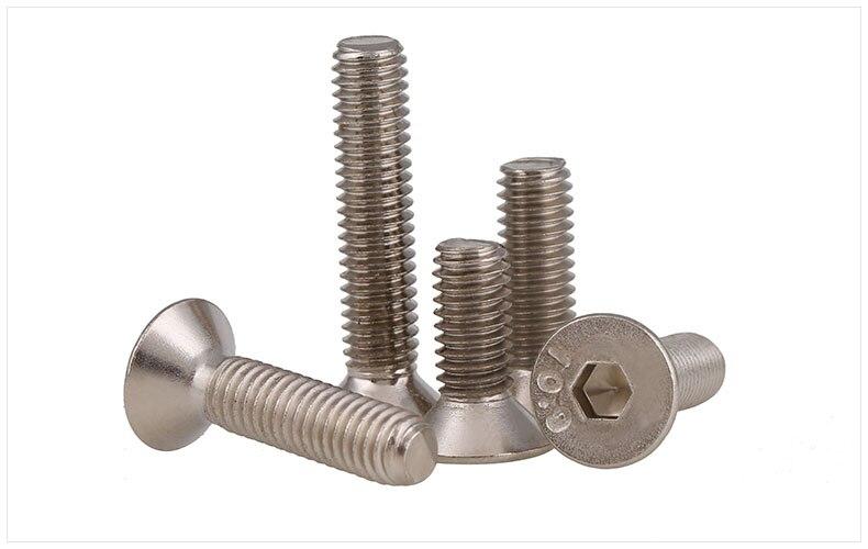 DIN7991 10.9 carbon steel countersunk head M2 M3 M4 screws bolts Nickel plating flat head screws Hex socket screws m3 x 6mm hex socket countersunk flat head screw bolts 50pcs