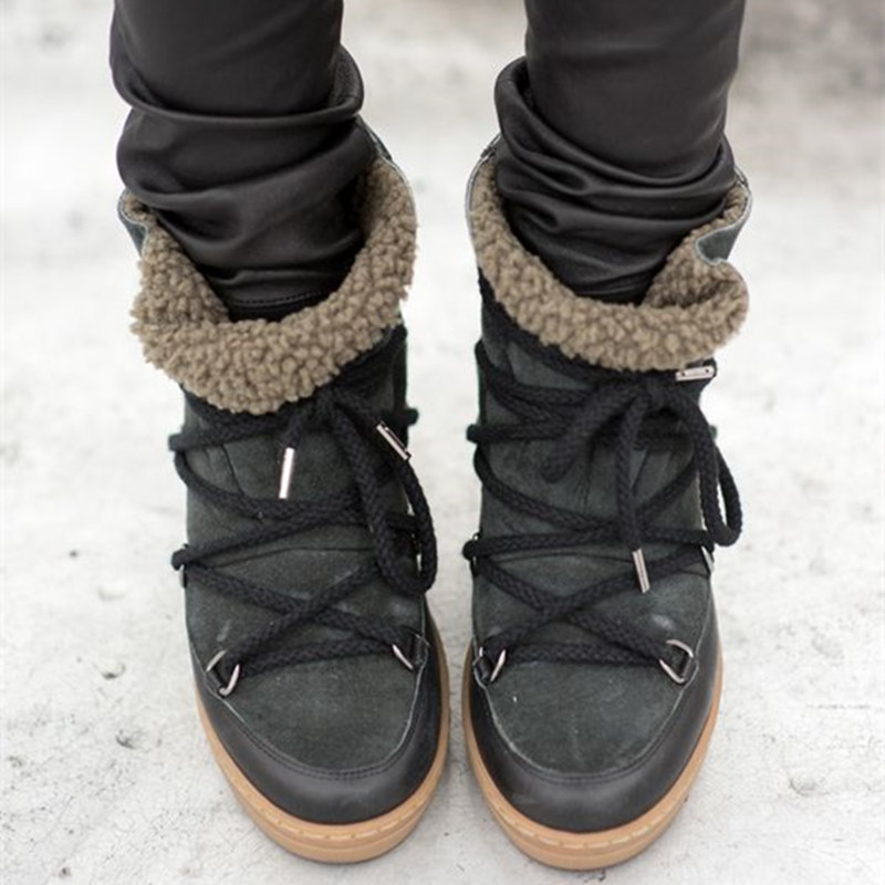 ФОТО Hot Winter New Women Snow Boots Height Increasing Zapatos Mujer Round Toe Ankle Boots Women Lace-Up High Top Tenis Feminino