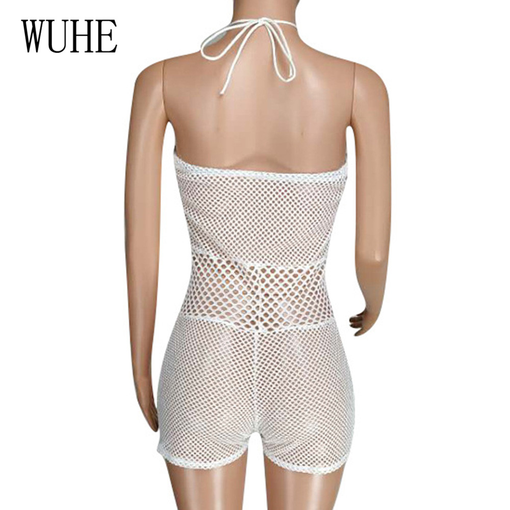 WUHE Sexy Swimwear Women Bikini Casual Fashion Strap Swimsuits Summer Crochet Hollow Out Halter Playsuits Elegant White Suits in Rompers from Women 39 s Clothing