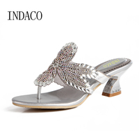 Silver Flip Flops Luxury Party Shoes Women Shoes Sandals High Heels Slippers New Diamond Sandals Female