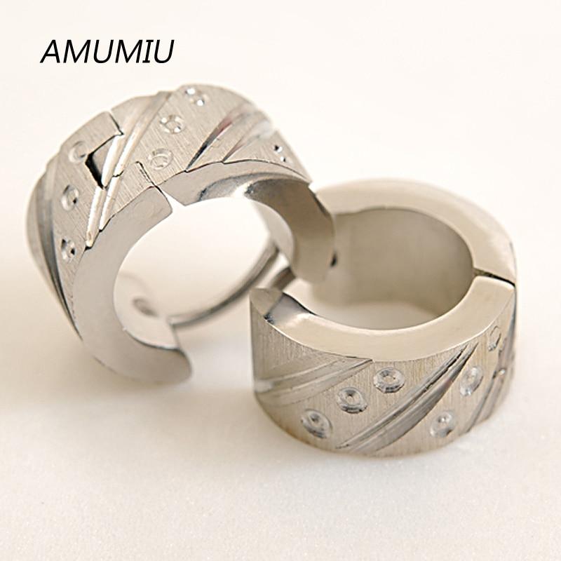 AMUMIU Free shipping 316L Stainless Steel Men Earrings For Biker Rocker Punk, Wholesale HZE019