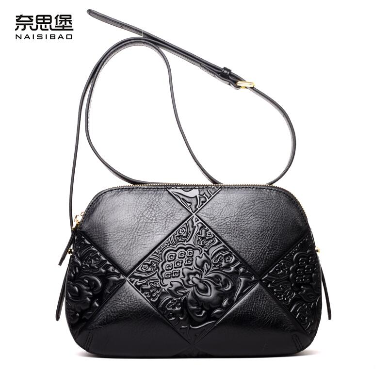 Cow leather handbag free delivery New leather women bag Retro shoulder Messenger bag Chinese wind printed shells cow leather handbag free delivery new leather women bag retro shoulder messenger bag leisure bucket bag
