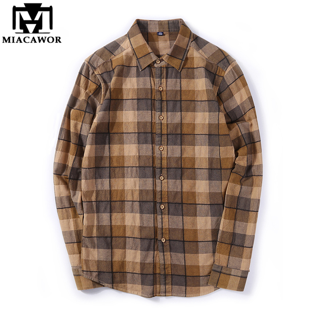 41578eff22 MIACAWOR 2018 New brand Men Plaid Shirts 100% Cotton High Quality Spring  Long Sleeve Casual