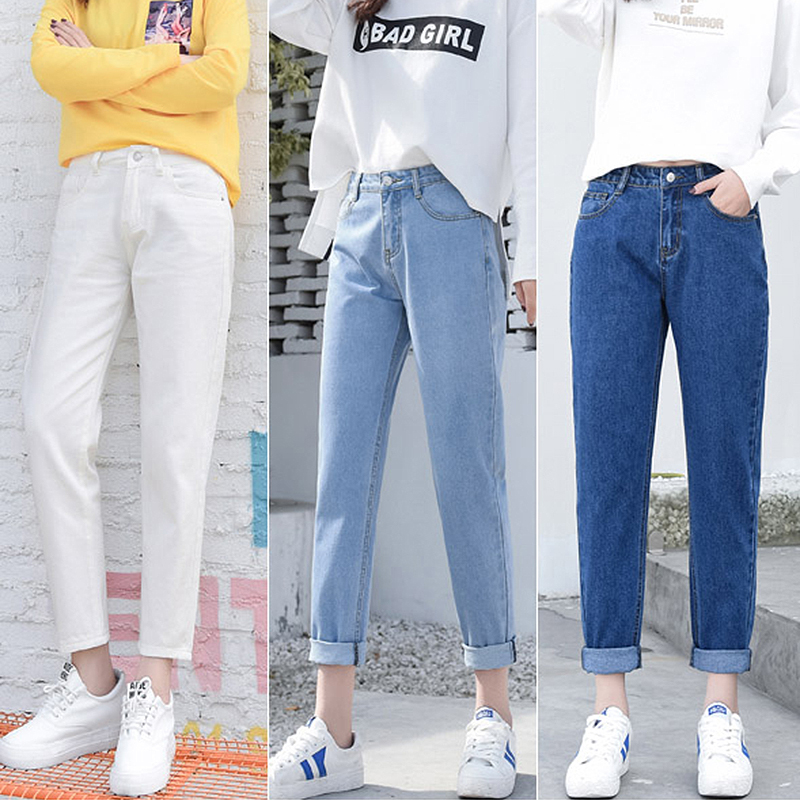 Boyfriend Jeans Trousers Pants Black High-Waist White Denim Plus-Size Fashion Woman Blue