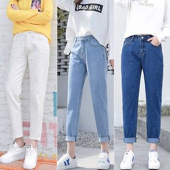 4838139a40e 2019 модные рваные джинсы женские с высокой талией бойфренд джинсы для  женщин большие размеры синий черный белый деним мама джинсы брюки