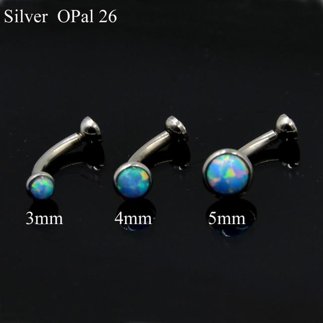 1Piece  Opal and CZ Gem Ear Tragus Cartilage Earring Stud  Eyebrow RingBody Piercing Jewelry with Internally Thread 16g 4