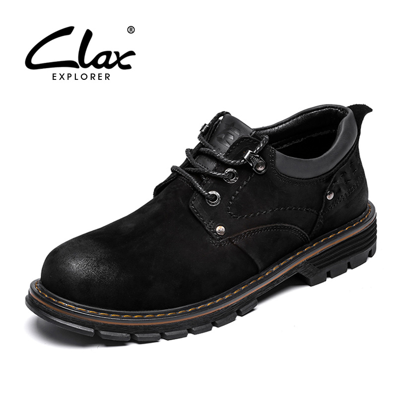 CLAX Men Boots Genuine Leather 2019 Spring Autumn Walking Footwear Male Casual Boot Shoe Ankle Work Shoes