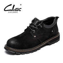 CLAX Men Boots Genuine Leather 2019 Spring Autumn Walking Footwear Male Casual Boot Leather Shoe Ankle Boot Work Shoes clax men s ankle boots genuine leather casual shoes male 2018 spring autumn leather boot soft comfortable walking footwear