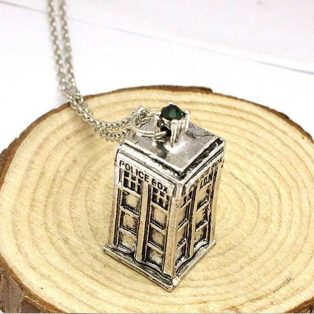 Doctor Who Tardis Police Box Vintage Blue Chain Necklaces & Pendants