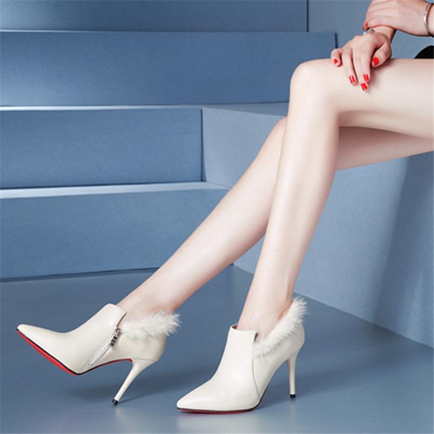 ZOUDKY igh heel buckle Tip Cowhide Mink hair platform fashion sandals