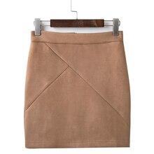 High Waist Suede Pencil Mini Skirt