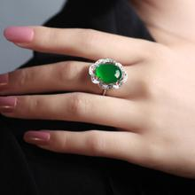 Zircon Green Ring Women Fashion Adjustable Jewelry Silver Green Zircon Wedding Rings Dropshipping Sept29