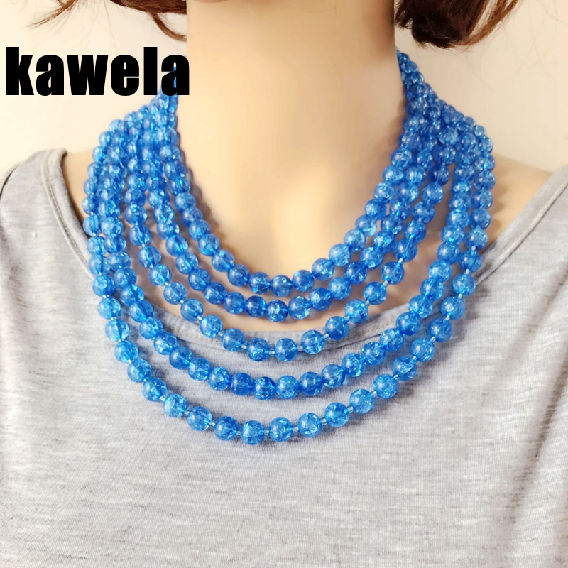 Free Shipping New Water Blue Fashion Statement Special Beaded Chunky Collar Necklace