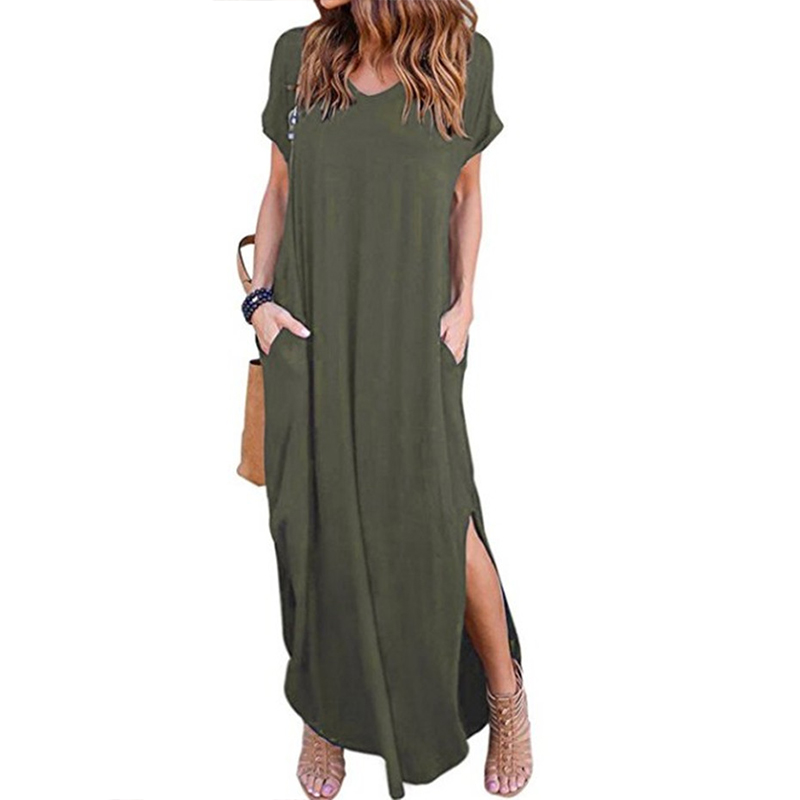 Casual Dress Women 2018 Summer New Arrivals Fashion Short Sleeve O-Neck Solid Loose Dresses Ladies Long Dress