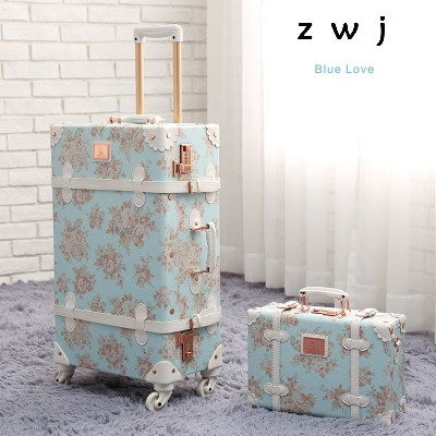 Retro PU Leather Rolling Luggage Set Spinner Suitcase Wheel Vintage Cabin Trolley Women's Handbag Travel Bag