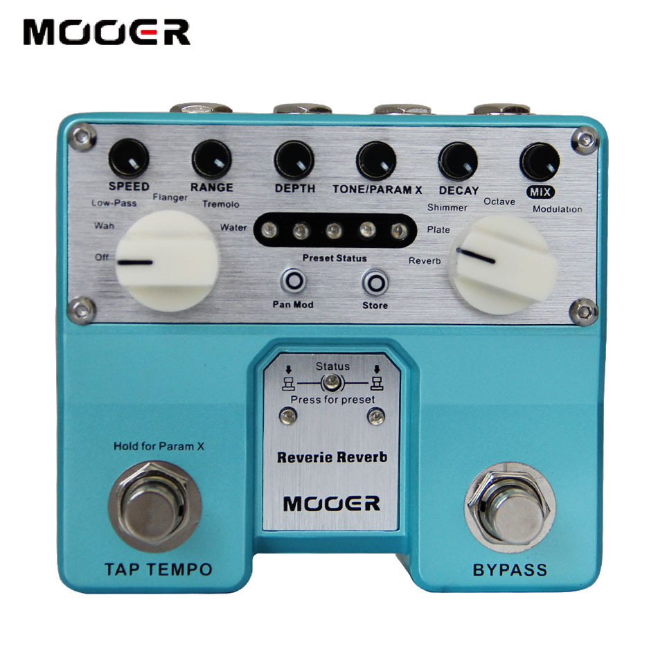 MOOER Twin Series Reverie Reverb Digital Reverb Pedal with Five Reverb Modes Guitar effect pedal mooer ensemble queen bass chorus effect pedal mini guitar effects true bypass with free connector and footswitch topper