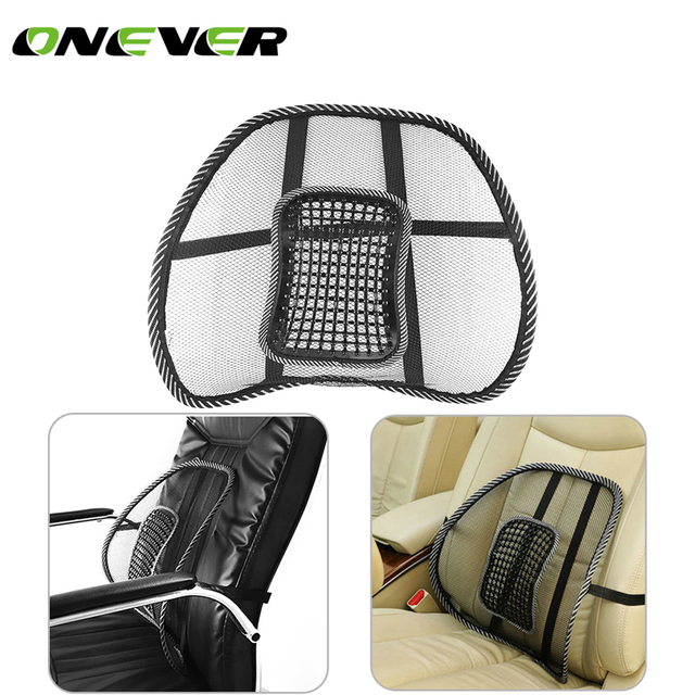 Comfortable Mesh Back Brace Lumbar Cushion Support Car Office Seat Chair Black