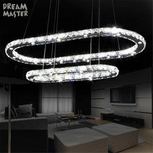 Image 1 - Lámpara Led de cristal de 38W ovalado, moderna, circular, iluminación de araña montada en el techo, para sala de estar, comedor, cocina
