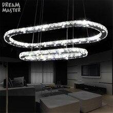 الحديثة Led الثريا البيضاوي دائرة مصباح إضاءة يتم تثبيته بالسقف أضواء الثريا لغرفة المعيشة غرفة الطعام المطبخ 38 واط الكريستال مصباح