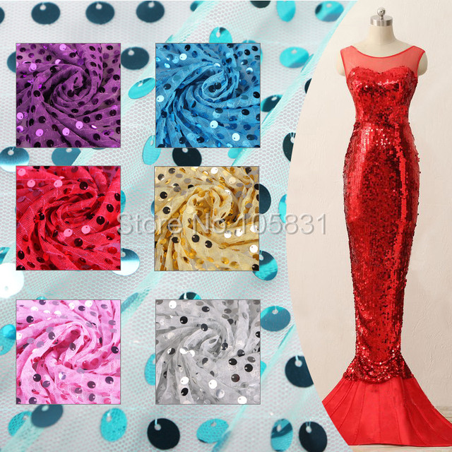 150cm Width Thick Sequin Fabric Mesh Back Fashion Wedding Decoration Material Party Decor Costumes Dance Sequins 9mm