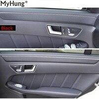 Car Front Rear Door Carbon Fiber Stickers For Mercedes Benz E Class E260 200L 300L 14 15 16 Car Sticker 4pcs Car Decals