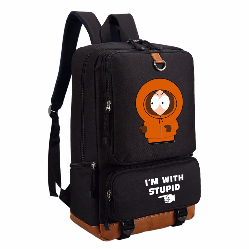 Wishot Funny Cartoon South Park Kiss My Ass Casual Backpack Teenagers Bookbag Student School Bags Travel  Laptop Bags