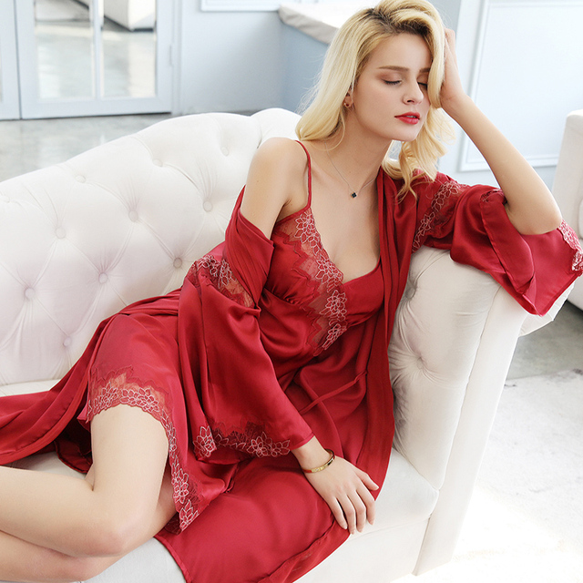 Sexy Silk Women s Sleeping Robes 100% Silkworm Silk Nightdress Bathrobe  Two-Piece Sets Sweet 69e91d721