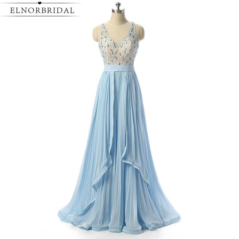 Light Sky Blue Sheer Prom Dresses 2017 Sexy Robe De Soiree Longue Sheer Imported Party Dress Formal Women Evening Gowns