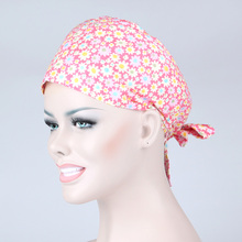 Pink Sun Flower Lace Cap 100% Cotton Printed Nurses Doctor Surgical Cap or Family Kitchen Hat
