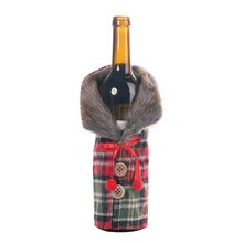 Christmas Decorations Dining Table Wine Bottle Decoration Striped Plaid Skirt Cover Small Removable