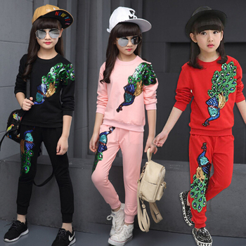 3-13Y 2016 Spring Girls Clothes Jacket Starfish Zipper Kids Jacket+Pants Kids Tracksuit For Girls Clothing Sets Girls Sport Suit spring outfits for kids