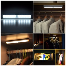LED Wireless Motion Detector Wireless Sensor Closet Cabinet Light Lamp Night Light Wall Lamp for Bedroom Cabinet Warm White