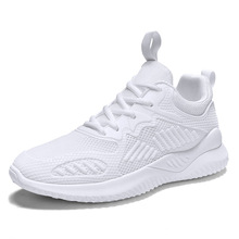 Foreign Trade Summer Breathable Fly Texture Thin Shoes White Trend Versatile Movement Running Mesh