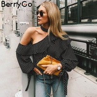 BerryGo One Shoulder Polka Dot Blouse Shirt Retro Ruffle Lantern Sleeve Chiffon Blouse Sexy Summer Bow