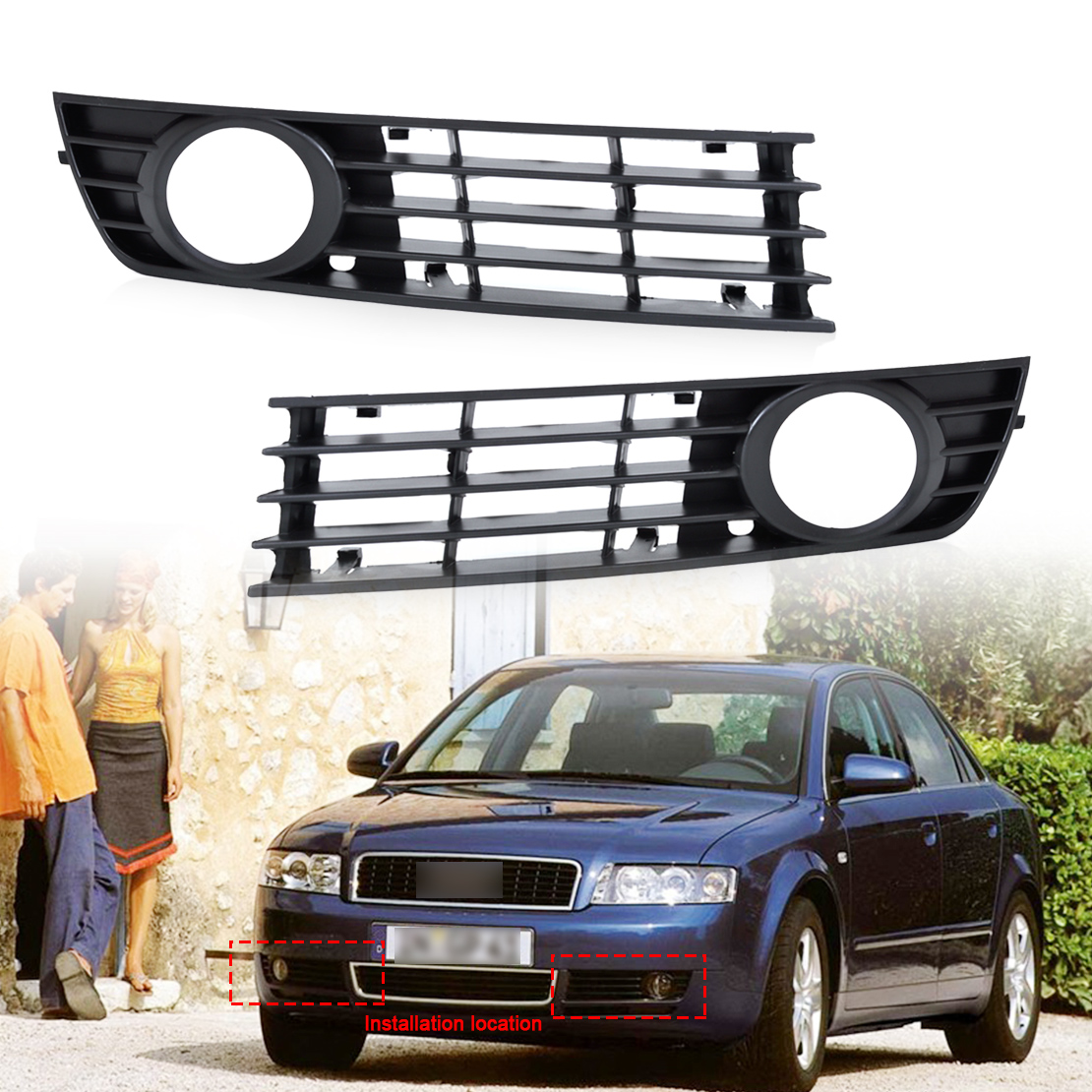DWCX 8E0807681 8E0807682 2pcs Front Left/Right Insert Bumper Fog Light Grille Protective Mesh for Audi A4 B6 2002 2003 2004 2005 car front bumper mesh grille around trim racing grills 2013 2016 for ford ecosport quality stainless steel