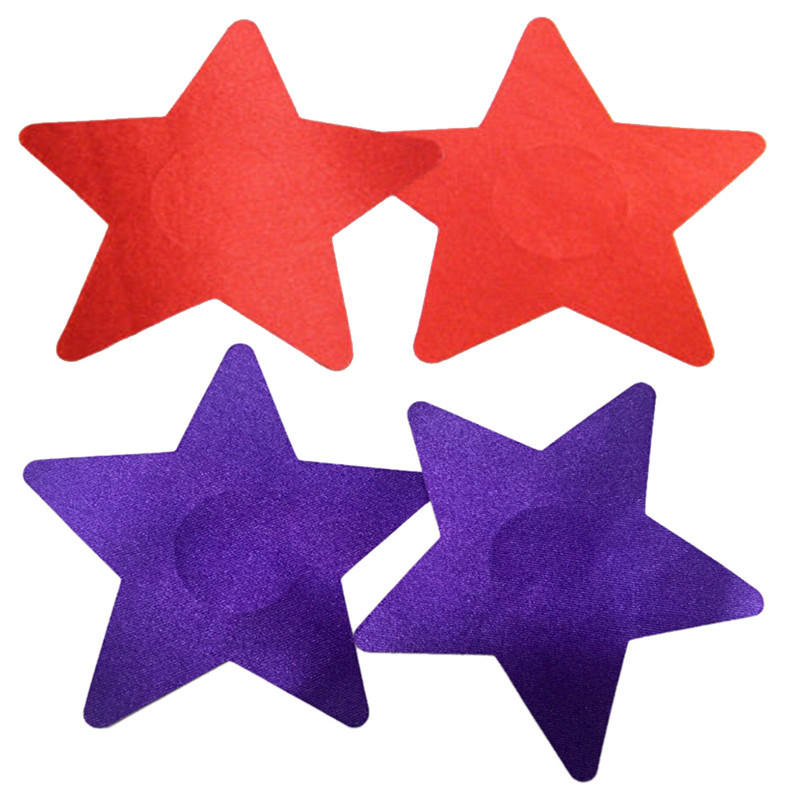 High Quality 1 Pair 5 Colors New  Sexy Sequins Red Bule Black Nude Purple Star Nipple Cover Pasties Breast Petals Hot Sale
