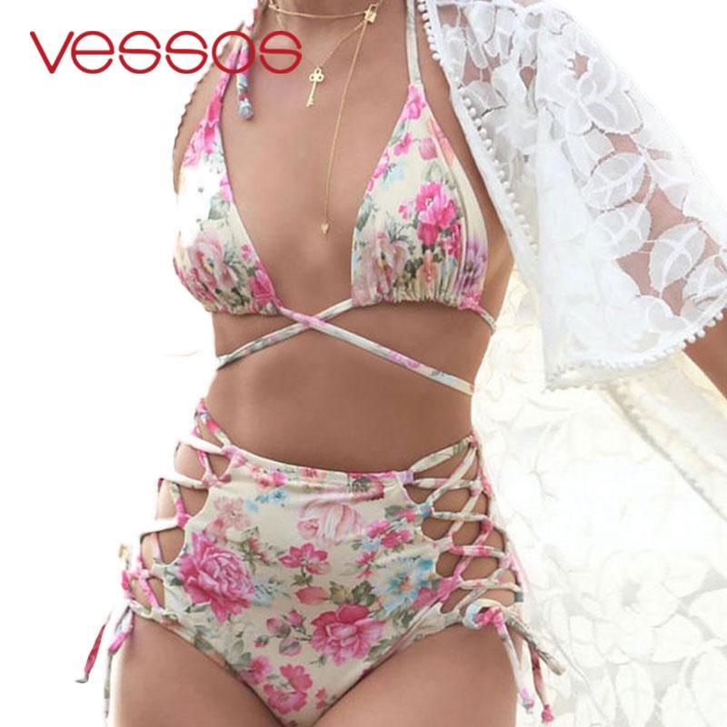 High Waist Swimsuit Bandage Bikini Floral Print Retro Vintage Bathing Suit Biquini Swimwear Push Up Beach SEXY monoki S-XXXL 2016 push up high waist swimsuit women floral print retro vintage bathing suit biquini plus size swimwear brazilian bikini