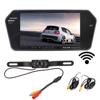 wireless 7 inch bluetooth car mirror Monitor mp5 +7 LED night vsion Rearview parking Camera + transmitter receiver kit